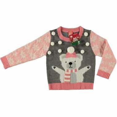 Grijze kersttrui ijsbeer kinderen