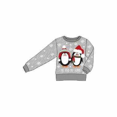Grijze kinder kersttrui pinguins