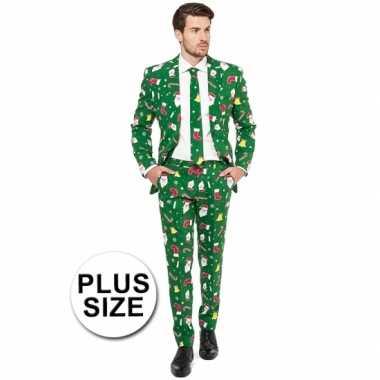 Grote maat heren kostuum groen kerst print