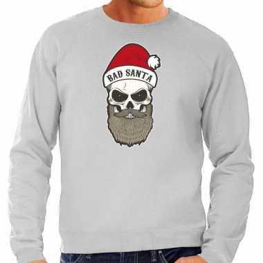 Grote maten bad santa foute kersttrui / outfit grijs heren