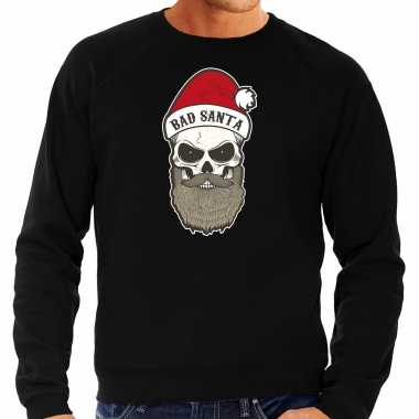 Grote maten bad santa foute kersttrui / outfit zwart heren