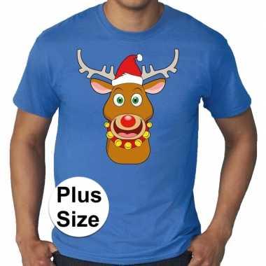 Grote maten fout kerst shirt rudolf rendier blauw heren