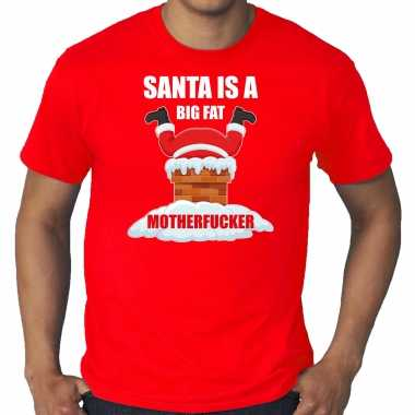Grote maten fout kerstshirt / outfit santa is a big fat motherfucker rood heren