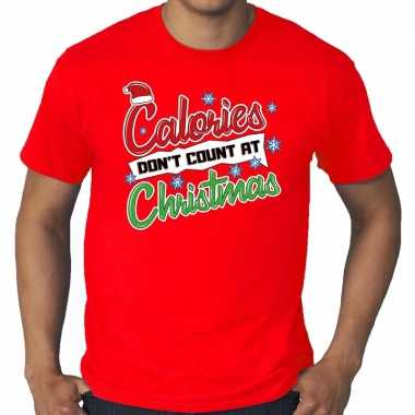 Grote maten foute kerst shirt christmas calories rood heren