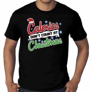 Grote maten foute kerst shirt christmas calories zwart heren