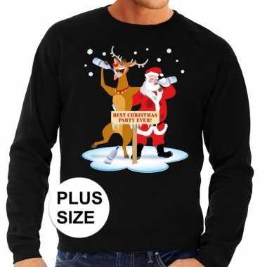 Grote maten foute kersttrui dronken kerstman rendier zwart