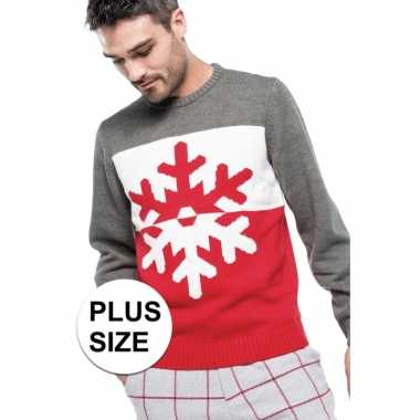 Grote maten foute kersttrui grijs/rood sneeuwvlok heren