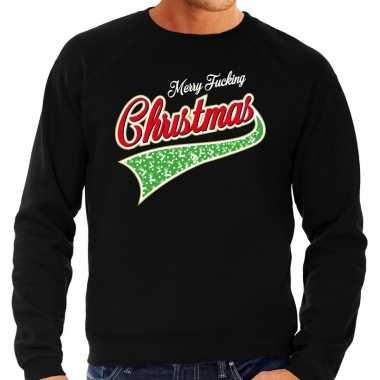 Grote maten foute kersttrui merry fucking christmas zwart heren