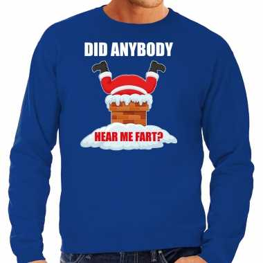 Grote maten foute kersttrui / outfit did anybody hear my fart blauw heren