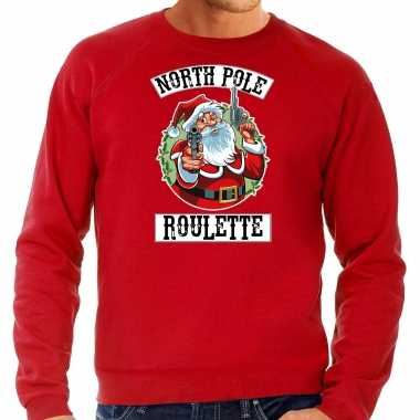 Grote maten foute kersttrui / outfit northpole roulette rood heren
