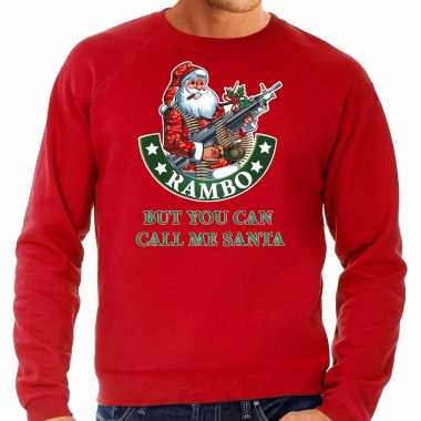 Grote maten foute kersttrui / outfit rambo but you can call me santa rood heren