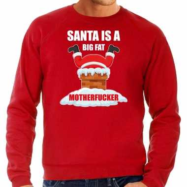 Grote maten foute kersttrui / outfit santa is a big fat motherfucker rood heren