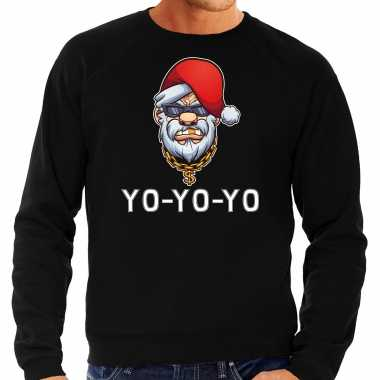 Grote maten gangster / rapper santa foute kersttrui / outfit zwart heren