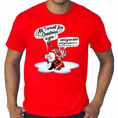 Grote maten kerst shirt zingende kerstman gitaar rood heren