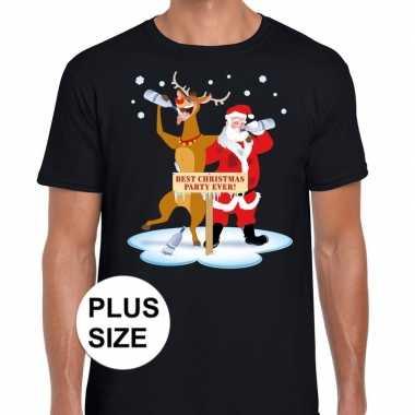 Grote maten kerst t shirt dronken kerstman rudolf zwart