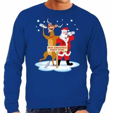 Grote maten kersttrui dronken kerstman rendier blauw heren