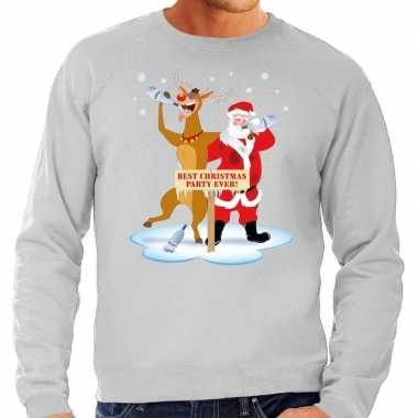 Grote maten kersttrui dronken kerstman rendier grijs heren