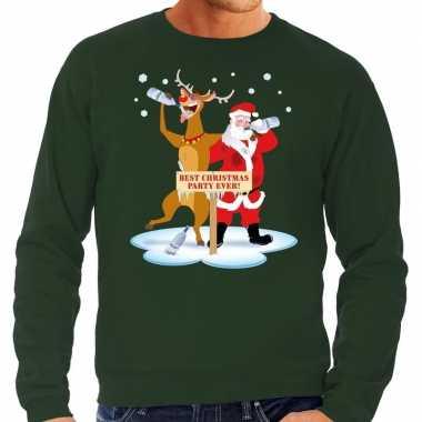 Grote maten kersttrui dronken kerstman rendier groen heren