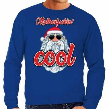 Grote maten kersttrui kerstman motherfucking cool blauw heren