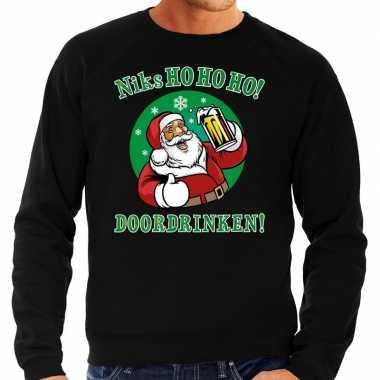 Grote maten kersttrui niks ho ho ho doordrinken bier zwart heren