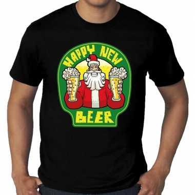 Grote maten nieuwjaar shirt happy new beer / bier zwart heren