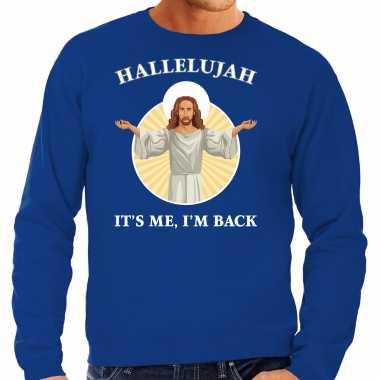 Hallelujah its me im back kersttrui / outfit blauw heren