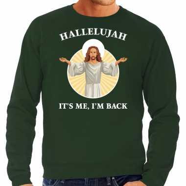 Hallelujah its me im back kersttrui / outfit groen heren