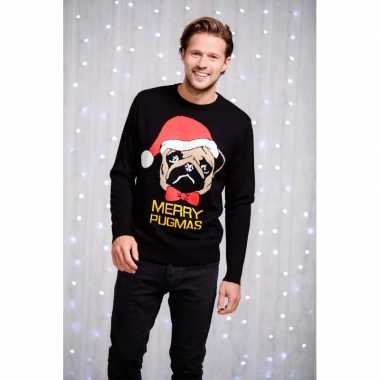Heren kersttrui zwart mopshond