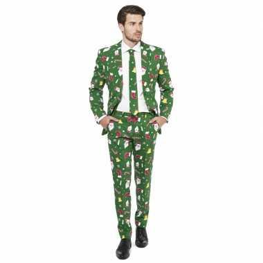 Heren kostuum groen kerst print