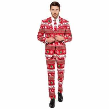 Heren kostuum kerstboom print