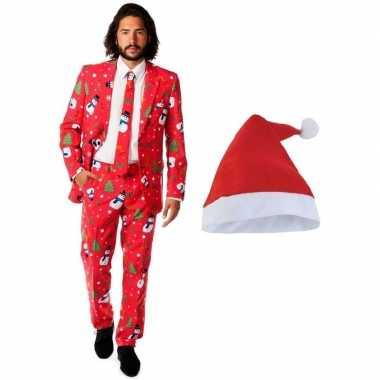 Foute Kersttrui 3xl.Heren Opposuits Kerst Kostuum Rood Kerstmuts Maat 56 3xl