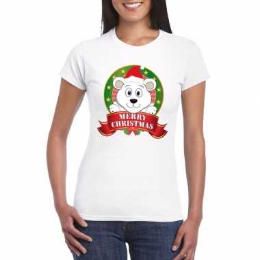 Ijsbeer kerst t shirt wit merry christmas dames