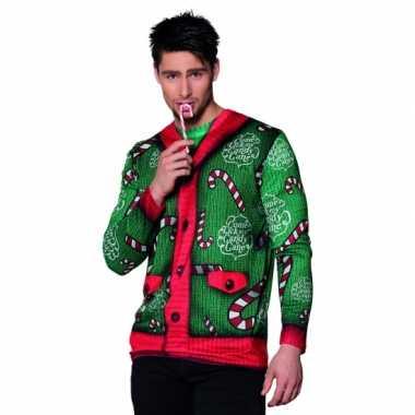 Kerst shirt candy cane kerst opdruk heren