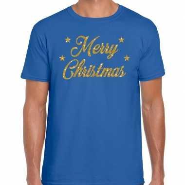 Kerst shirt merry christmas gouden glitter letters blauw heren
