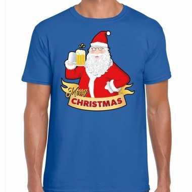 Kerst shirt merry christmas santa bier / proost blauw heren