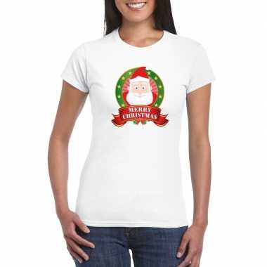 Kerst t shirt kerstman wit merry christmas dames