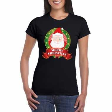 Kerst t shirt kerstman zwart merry christmas dames