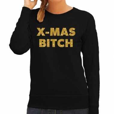 Kersttrui christmas bitch gouden glitter letters zwart dames