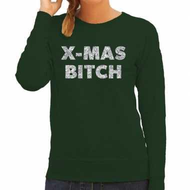 Kersttrui christmas bitch zilveren glitter letters groen dames