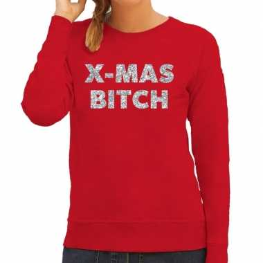 Kersttrui christmas bitch zilveren glitter letters rood dames