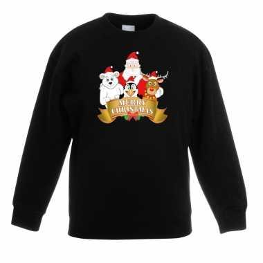 Kersttrui de kerstman zijn vriendjes zwart kinderen