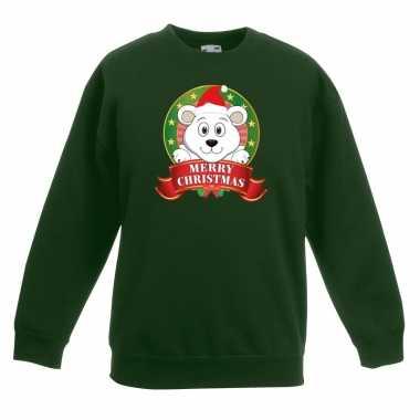 Kersttrui een ijsbeer groen jongens meisjes