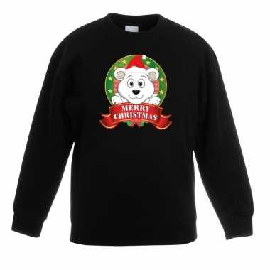 Kersttrui een ijsbeer zwart jongens meisjes