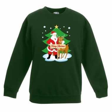 Kersttrui kerstman rendier groen kinderen