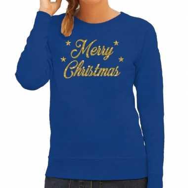 Kersttrui merry christmas gouden glitter letters blauw dames