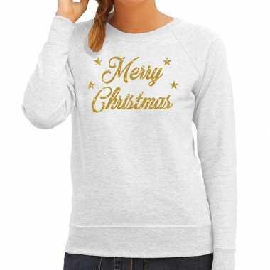 Kersttrui merry christmas gouden glitter letters grijs dames