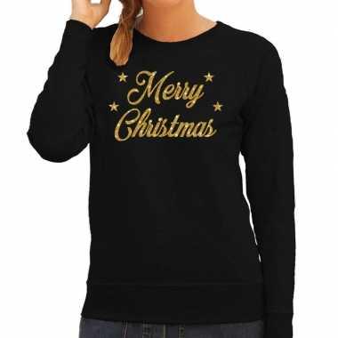 Kersttrui merry christmas gouden glitter letters zwart dames