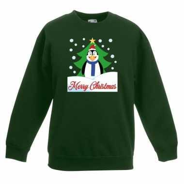 Kersttrui merry christmas pinguin groen kinderen
