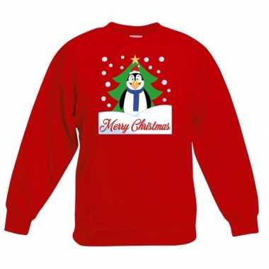 Kersttrui merry christmas pinguin rood kinderen