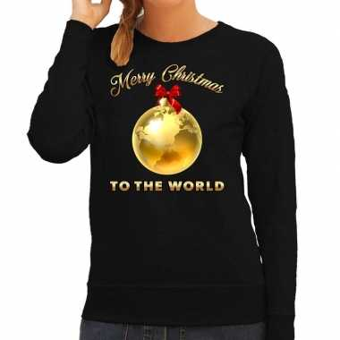 Kersttrui merry christmas to the world zwart dames